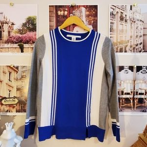 Max Studio Blue/Grey Colour Block Sweater
